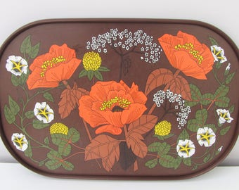 Vintage Marks and Spencer Poppy Melamime Tray Serving Tray Kitchen Kitchenalia 1970s Orange Brown Fab