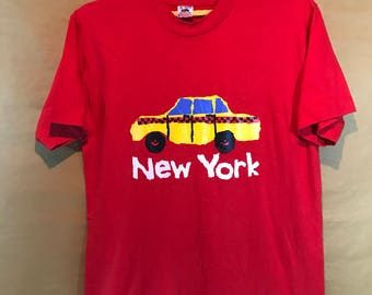 """NOS Unworn Early 90s Vintage New York Taxi Printed T-shirt Adult Medium Size Chest 20.5"""""""