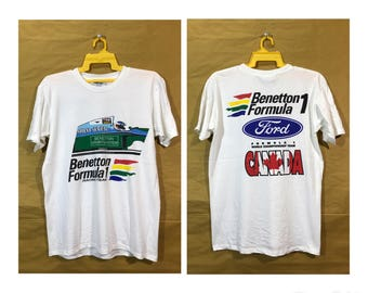 1994 Benetton Formula 1 Ford World Championship Canada Racing Team T-shirt Made In Canada Adult Medium Size Chest 20""