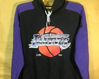 70s Vintage Los Angeles Lakers NBA team By Nummer Sportwear Two Tone Color Hoodie Sweatshirt Adult Medium Size