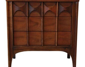 SOLD - Kent Coffey Perspecta Sculpted Walnut and Rosewood Nightstand