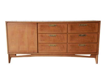 Mid-Century Modern Parquetry Credenza by Red Lion