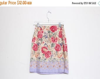 25% OFF VTG 90s High Waist Baroque Flower Multicolor Wrap Skirt S