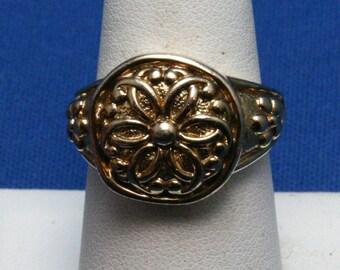Vintage 925 Sterling Silver Gold Vermeil Flower Ring Size