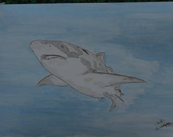 """Shark"" wild animal drawing, ink China and signed ink wash G.Vanspey"