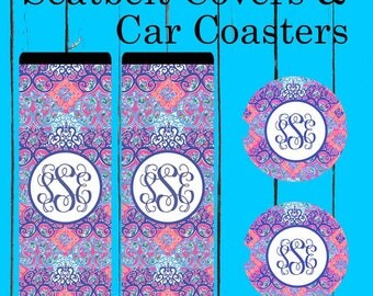 Monogrammed Seat belt cover, shoulder belt cover, Lilly Pulitzer Inspired, Personalized, Gift for women, Custom seat belt cover, Car coaster