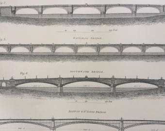 1875 Bridge print - architecture - civil engineering - wall decor - home decor - matted and ready to frame - 14 x 11 inches