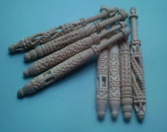 6 BOBBIN LACE SHEPHERD carved olive 15 cm Lot 2