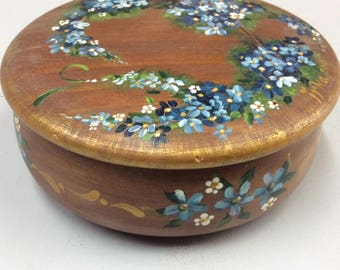Small Round  Wooden Box Painted with Forget-Me-Nots
