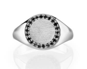 Black Signet Ring. Gold Signet Ring. Black Diamond Ring. Signet Pinky Ring. Signet Ring Women. Black Diamond Signet Ring. 14K/18K Solid Gold