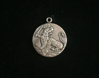 antique french crowned lion medallion amulet
