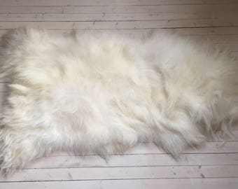 White long haired XL sheepskin rug spael sheep throw 17232