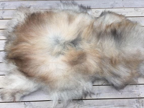 Rugged and long-haired sheepskin rug. Brown, grey - 17139