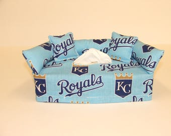 Kansas City Royals MLB Licensed fabric tissue box cover, Kleenex box cover.