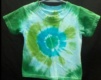 Hand Dyed Tie dye toddlers 2T 3T t-shirt bullseye in jade green, turquoise, lime green, baby blue and forest green Hanes comfortsoft brand