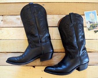 Men's 10 D Vintage Dan Post Black Leather Cowboy Western Boots