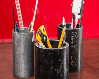 """Extra Large 4"""", 5"""" or 6"""" tall salvage structural pipe pencil holderIndustrial Decor, Desktop Organizer, Industrial Pipe, Gift Idea"""