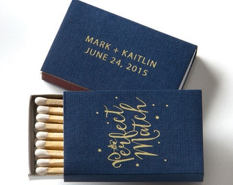 THE PERFECT MATCH w/ Polka Dots Matchboxes - Wedding Favor, Wedding Matchbox, Wedding Decor, Personalized Matches, Custom Match Box, Wedding