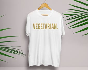 Gold Vegetarian T Shirt in Black and White