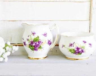 Vintage Phoenix Bone China Creamer and Sugar Set | Purple Creamer Sugar, English Creamer Sugar Set, Tea Party Creamer Sugar Set