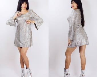 GO-GO... vintage 1960's Young Edwardian by Arpeja silver lurex go go babydoll mini dress