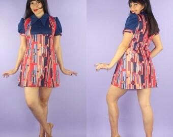 BABY DOLL... vintage 1970's Freeport Fashions poly knit novelty print dolly mini dress