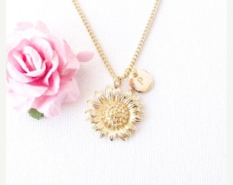 VACATION SALE Gold sunflower necklace, sunflower, gold sunflower jewellery,  jewelry, flower, mothers day,Best Friends, sisters necklace, GS
