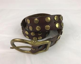 "Vintage Brown Leather Belt With Brass Studs, Brass Belt Buckle, Men's Brown Leather Belt, Studded Belt, 42.5"" Long, Western Belt, Hipster"