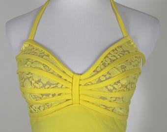 Bright Yellow Frederick's of Hollywood Strappy Dress Small Size