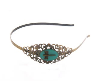 Serre tête vintage steampunk bronze dentelle libellule bleu