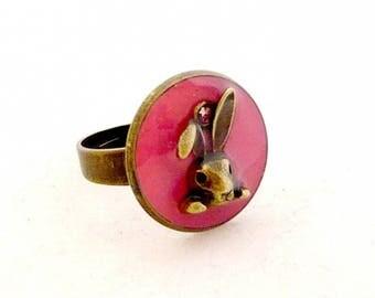 Pink rabbit ring
