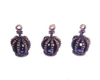 Set 3 Crown King Queen Princess Kings Cross alice 22x12mm brass bronze jewelry