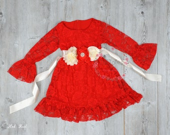 JOLIJOLIES Red white Long sleeve Flower Girl Dresses- Christmas Dress- Maroon Lace dress- Rustic Girls Dress - Junior Bridesmaid