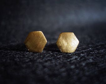 Ear plug brass hexagonal Hexagon brushed geometric
