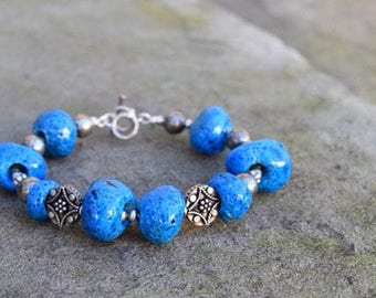 Egyptian Faience Beads & Sterling Bracelet                            (1-of-A-Kind)
