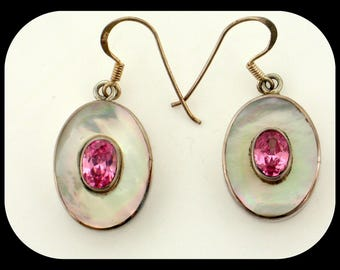 New Handmade 925 Sterling Silver Pink Topaz & Mother of Pearl Hook EARRINGS