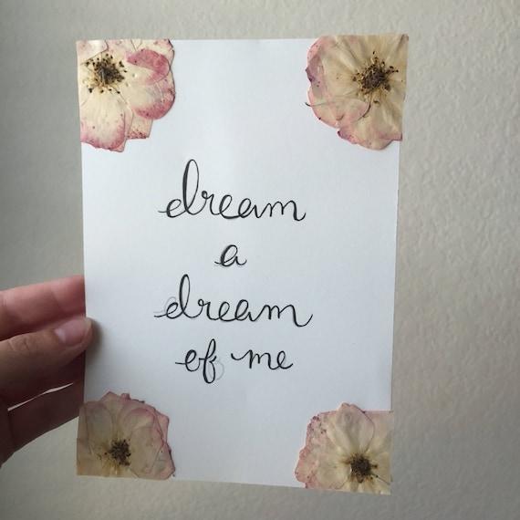Dream A Dream of Me Calligraphy and Roses 5x7 - Rose Herbarium-Pressed Botanical - Framed Floral Art-  Pressed Flower Art- Specimen Art