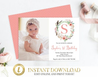 Editable Invitation Etsy - First birthday invitations girl online