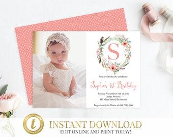 Editable Invitation Etsy - First birthday invitations girl online
