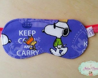 """Sleeping mask / sleep mask """"Snoop"""" reversible, cotton and quilted"""
