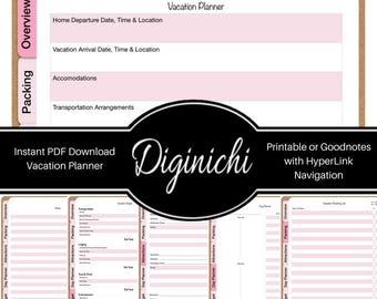 Vacation Planner - Pink - Digital Goodnotes Planners and Journals - Goodnotes PDF and PDF Printable for paper planners - iPad Pro