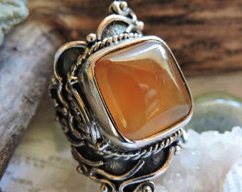 Sterling Silver Ring Carnelian Gemstone Ring Brown/Size 8.25