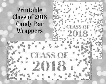 Printable Candy Bar Wrapper Graduation Party Class of 2018 Silver Confetti Digital Download Chocolate Bar Label