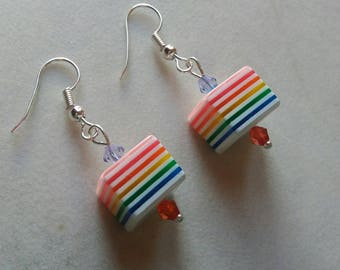Cube rainbow earrings silver plated