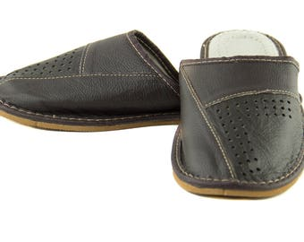 Mens natural leather slippers! Everyday Slippers! brown slippers, leather mens slippers, everyday