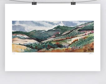 Watercolour Landscape - Blue Green Sienna - A3 - A4 size - Fine Art Print - Limited Edition - Inspired by landscape in Tuscany