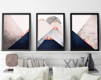 Printable Art, Set of 3 Prints, Print Set, Mountain, Navy, Blush, Copper, Scandinavian, Geometric, Minimalist, Triptych, Wall Art, Poster
