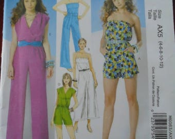 Sewing pattern McCall's 6083 Misses' Jumpsuit in 3 lenghts and sash new uncut size 4 to 12