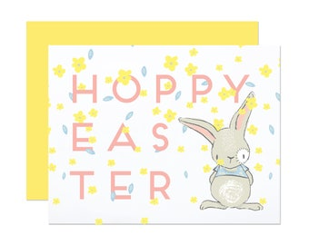 Hoppy Easter - Floral Easter Card