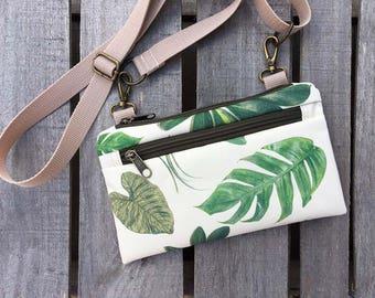 Waterproof Leaf Fanny Pack, Mini Monstera Crossbody Bag, Festival Bag, Boho Bag, Leaf Bum Bag, Vegan Belly Bag, Waterproof Bag, Gift idea